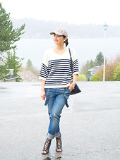 Zijun Zhou -  - Wearing Overalls As Boyfriend Jeans