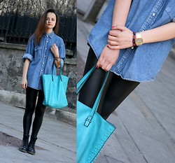 Simona Slavova - Secondhand Denim Shirt, Leather Leggings, Paolo Botticeli Purse, Tally Weijl Watch - Daddy's Shirt