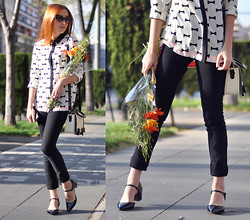 Laia N - Tom Ford Nikita Sunglasses, Oasap Blouse, Topshop Bow Bag, Cheap Monday Second Skin Skinnies, Asos Flats - Pop of orange
