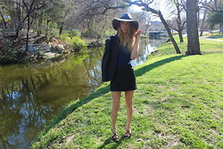 Jade Taylor-Allred - Brixton Hat, Zara Leather Blazer, Theory Leather Skirt, Saint Laurent Sandals, Vintage Top - Garden Party