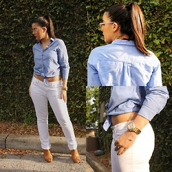 Liv - H&M Button Up, J. Crew Matchstick Jeans In White - White Denim Girl