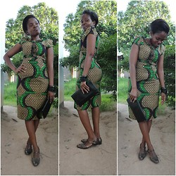 Violet K - Kv Kitenge Short Dress - Touch of Green