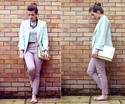 Tasha Hinde - Primark Blazer, Missguided Grey Scuba Crop Top, Warehouse Pastel Jeans, Marks And Spencer Metallic Bag - Another day, another pastel outfit
