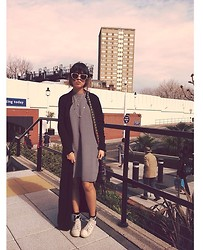 Diane Landers - Deichmann Peach Cat Eye Sunglasses, Marks And Spencer Long Black Cardigan, H&M Black And White Stripes Dress, Converse White, New Look Cross Necklace - Thirty One Fourteen