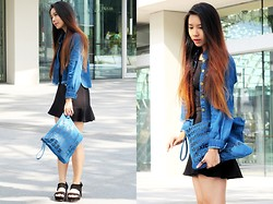Brenda Tok - Denim Jacet, Tutu Skirt, Denim Clutch, Sandals - Denim x denim