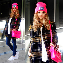 Violetta Privalova - Sheinside Coat, Asos Flatform Sneakers, Leather Satchel Bag, Mango Jeans, Aliexpress Hat - Flatform Sneakers and pink details