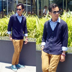 Irwan Shah . - Gap Blue Long Sleeve Shirt, Uniqlo Navy Cardigan, Topman Mustard Yellow Chino, Fossil Blue & Red Bracelets - Goodbye March, Hello April