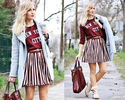 Eszter D. - Mango Skirt, Pull & Bear Sweater, Stradivarius Coat - Fluttering strips