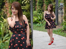 Shaira Izella Tan Loque - Thrifted Printed Terno, Thrifted Red Pumps - My lips like sugar!