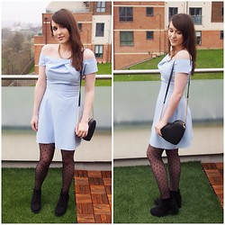 Gabby P. - Asos Heart Quilted Bag, Primark Black Boots, In Love With Fashion Pastel Blue Off The Shoulder Dress, Primark Spotty Tights - Pastel Cold Shoulder