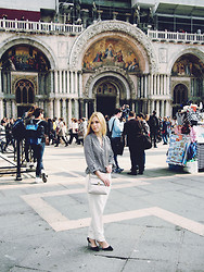 Alina A - Asos Blouse, Mango Trousers, Zara Heels - Black & White in Venice