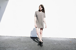 Rima Vaidila - Brandy Melville Usa Striped Tee Dress, Yes Cut Out Ankle Boots - Fade
