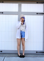 Likkie Xiong - Staring At Stars Top, Calvin Klein High Waisted Shorts, Free People Beanie - Lilac for Spring