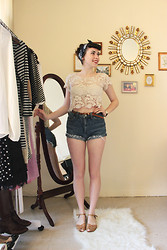 Samantha Kreeger - Thrifted Shorts, Aldo Sandals, Forever 21 Lace Top - Pin me up