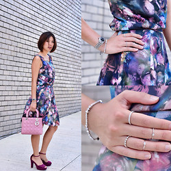 Alice_Alice&Leon . - Alice & Leon Sterling Silver Midi Rings, Paul Smith Flowers Print Top And Skirt, H&M H & M Heels - Lady like
