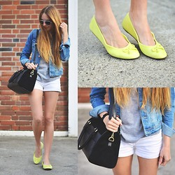 Anna R - H&M Jeans Jacket, Zara Bag - Lime And Jeans
