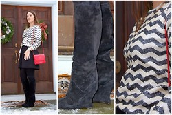 Katie S - J. Crew Sequin Chevron Top, Madewell Pleated A Line Skirt, Kurt Geiger Vintage Red Bag, Bottega Veneta Suede Boots, Michael Kors Gold And Navy Watch - Zig Zag