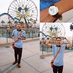 Brian R. - Disney Mickey Mouse Watch, H&M Triblend Polo Shirt, H&M Maroon Chino Pants, Forever 21 Half Frame Glasses - Oh Mickey you're so fine!