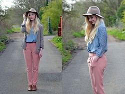 Alix E - Zara Fedora, Topshop Blouse, H&M Blazer, Darling Trousers, Dune My Trusty Brogues - Spring Colours