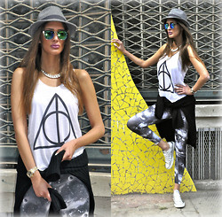 Amina Allam - H&M Hat, Giant Vintage Sunnies, Mim Chain Necklace, Crow Couture Tank Top, Mart Of China Hooded Jumper, Flirt Space Print Leggings, Converse Silver Sneakers - Yesterday was still sunny