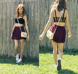 Emerald Haze - Brandy Melville Usa Caged Back Crop Top, Brandy Melville Usa Skirt, Converse White High Tops, Forever 21 Purse - Caged Back