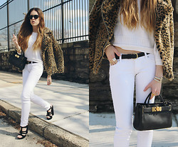 Lauren Schoonover - Onna Ehrlich Mini Maya Handbag, Vintage Cropped Sweater, Bullhead White Skinny Jeans, Coach Leather Belt, Unif Leopard Print Faux Fur Jacket, Shoe Cult Heels - Outfit 197