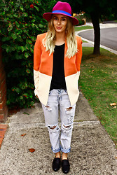 Lindsey Denham - Topshop Fedora, General Pants Tee Shirt, Cameo The Label Blazer, One Teaspoon Jeans, Sportsgirl Shoes - Boyfriend Jeans, Blazer.