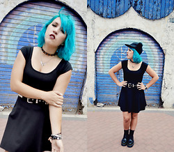 Raysa Castañeda - Hot Topic Studded Belt, Dr. Martens Jadon Boots, Manic Panic Atomic Turquoise, Claire's Transparent Chocker, Topshop Fluffy Cap - Blue Bear