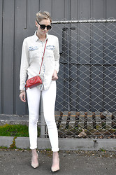 Societygrl Blog - Topshop Jeans, Brian Atwood Heels, Prada Mini Bag, Vince Camuto Shirt - White denim is essential