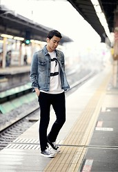 Dong Young Kim - All Saints Denim Jackets, None Black Slacks, Converse Jack Purcell Leather - TOKYO on a rainy day