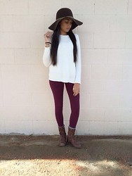 Nikita Patel - Forever 21 Wide Rim Hat, Forever 21 Sweater, Cotton On Burgundy Leggings, Cathy Jean Combat Boots, Aldo Gold Rings - Big brown hat