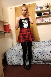 Laurel Elizabeth - Velvet Hair Bobble, H&M Kitten Vest, H&M Tartan Skirt, Black Tights, Tk Maxx Studded T Bar Flats - I'm Never Gonna Save the World