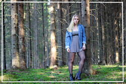 Frida Hagström - These Glory Days Denim Jacket, Gina Tricot Striped Dress, Din Sko Boots, Second Hand Watch - The Forest
