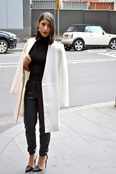 Chantelle Villa - Zara Coat, Boo Hoo Top, Cotton On Pants, Tony Bianco Heels - Faux Leather Track