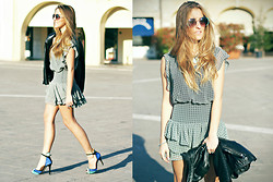 Elen Ellis - Aldo Sunglasses, Mango Dress, Zara Leather Jacket, Zara High Heels, Zara Necklace - FLUTTERING SPRINGY DRESS