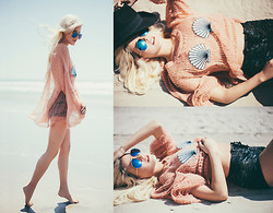 Rachel Lynch - Wildfox Couture Mermaid Seashell Sweater, Dolls Kill Lace Up Velvet Shorts, Zerouv Blue Aviators - Under the sea