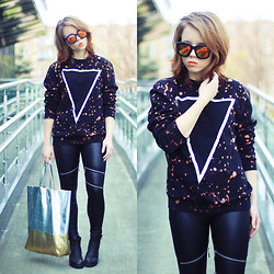 Wioletta Mary Kate - Endless Maze Blouse, Romwe Leggins, Choies Bag, Romwe Sunglasses - Today Look 03.04