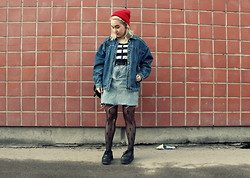 Hilla S - Second Hand Denim Skirt, Second Hand Denim Jacket, Gift From Friend Red Beane, Gina Tricot Cross Tights - Pieces of what