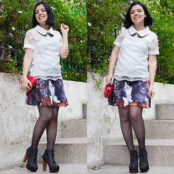 Emel Acar - Romwe Skirt, Sheinside Blouse, Zealotries Necklace, Rosewholesale Heart Bag - Kittens