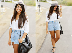 Nydia Enid - Zara Fedora Hat, Bullhead High Rise Denim Shorts, Zara Black Bag, H&M White Button Down Shirt - To the Tropics