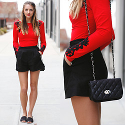 Madeline Becker - Motel Rocks Red Embroidered Top, French Connection Uk High Waisted Shorts, Delias Black Crossbody, Airwalk Black Sandals - Black n' Red
