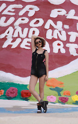 Ella E - Unif Shortalls, Brandy Melville Usa Bralette, Jeffrey Campbell Studded Boots, Prada Sunglasses - SALVATION