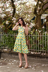 Annebeth B - River Island Apple Print Dress, Asos Gold Wedges - Magnolia