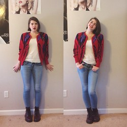 Nora B - Gift 80's Cardigan, J. Crew White Tank Top, American Eagle Jeans, Dr. Martens Purple Doc Marten's - Don't Stop-Foster the People