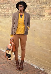 Sushanna M. - Thrifted Almond Herringbone Blazer, American Apparel Navy Men's Sweater Vest, Vintage 60s Mustard Button Up Cardigan, Levi's® Light Brown High Waisted Skinny Jeans, Brown Braided Satchel - Kentucky Bourbon