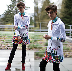 Jake Gonnella - Desigual Floral Jacket, Levi's® Black Skinny Jeans, Ecote Crimson Suede Heels - Take Up Thy Stethoscope and Walk