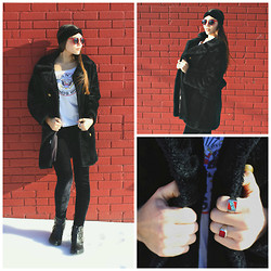 Madison Rae - Vintage Black Faux Fur, Free People Velvet Leggings, Vintage Sunglasses, Vintage Native American Made Ring, Vintage Grandma's Ruby Ring - Black Velvet