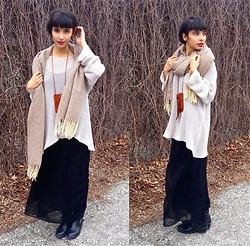 Dani K.A. - Philistine Woven Oversized Scarf, Urban Outfitters Burnt Orange Leather Pouch, John Galt Black Sheer Maxi - Oatmeal