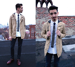 Kyle Bonner - Zaks Parka, Thrifted Tie Bar, H&M Shirt, Levi's® Wax Denim 510s, Thrifted Vintage Brogues, Knit Tie, Bprd Ring - Existential Asthmatic