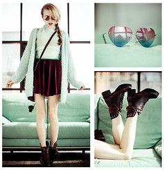 Tini Tani - Sheinside Skirt, Romwe Boots, Choies Sunglasses - Mint + cherry